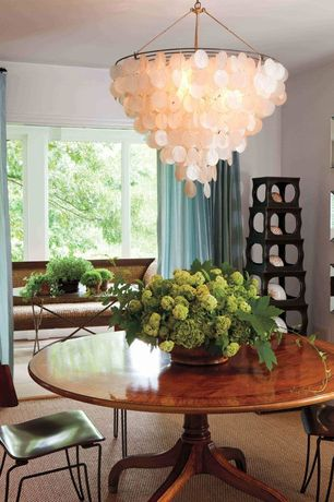 Contemporary Dining Room with Carpet, Chandelier, Rosalea capiz shell chandelier, Ripple Curtain - Teal 84""