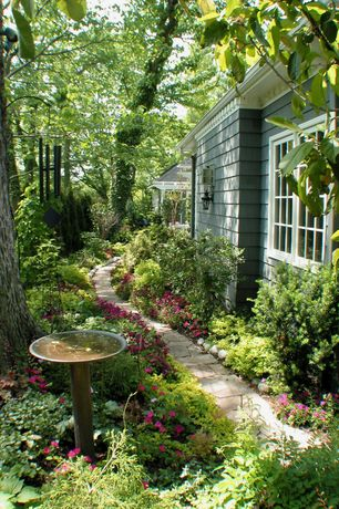 Traditional Landscape/Yard with Campania international williamsburg tea table cast stone bird bath, Pathway, Bird bath, Fence