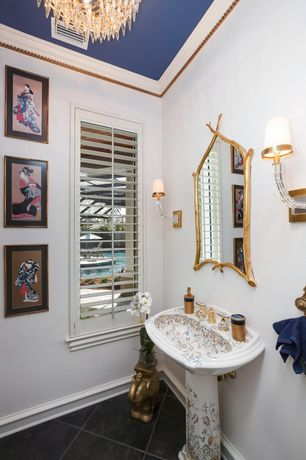 Asian Powder Room with Standard height, Crown molding, stone tile floors, Pedestal sink, Powder room, Wall sconce, Chandelier