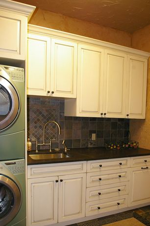 Traditional Laundry Room with Dupont Corian in Deep Black Quartz, Quartz countertop