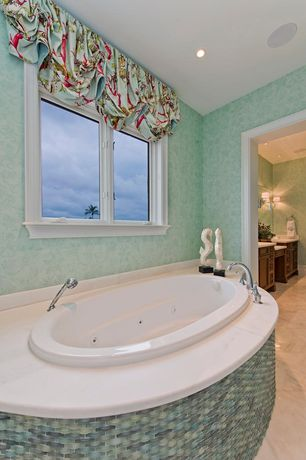 Tropical Master Bathroom with Carrara White 24x24 Tile Polished - Marble from Italy, Wall paper, interior wallpaper