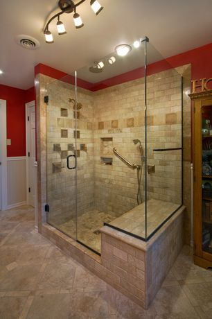 Craftsman Master Bathroom with flush light, frameless showerdoor, Ms International Tumbled Travertine Mosaic In Durango Brick
