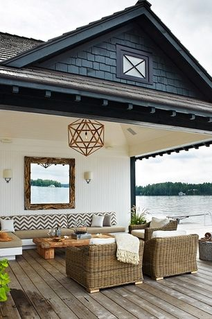 Craftsman Porch with Outdoor wicker patio set, Zigzag twill upholstery fabric, Screened porch