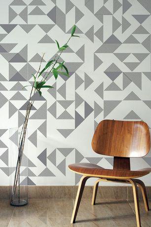 Modern Living Room with interior wallpaper, Wallpaper, travertine tile floors, Large Ceramic Tile