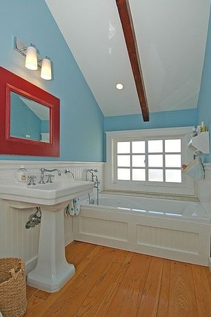 Cottage Full Bathroom with Wainscotting, House of fara 8 sq ft. mdf overlapping wainscot interior paneling kit, Pedestal sink