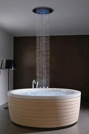 Contemporary Master Bathroom with Round acrylic bathtub with maple skirt, Round ceiling mount shower head