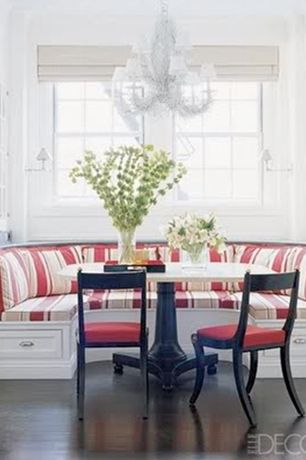 Contemporary Dining Room with Pedestal dining table on ball feet, Breakfast nook with storage