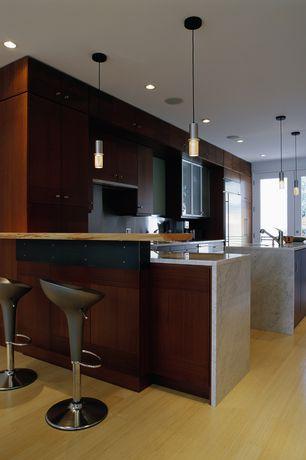 Modern Kitchen with Ms International Mont Blanc Marble, Boraam Luna Scoop Adjustable Height Swivel Bar Stool (Set of 2)