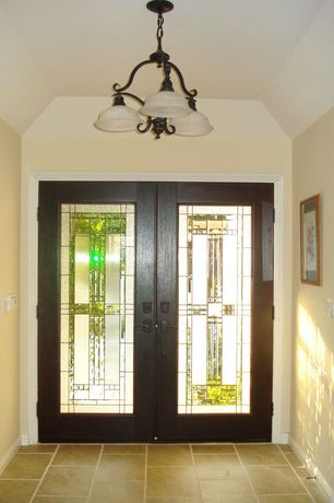 Traditional Entryway with Concrete tile , Standard height, flush light, Glass panel door