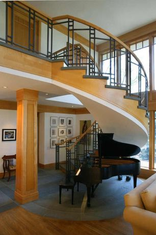 Craftsman Staircase with Spiral staircase, Columns, High ceiling, Hardwood floors