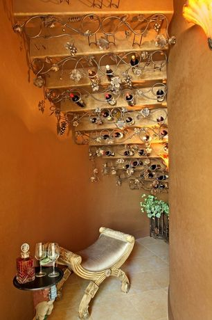 Eclectic Wine Cellar with Standard height, terracotta tile floors, Wall sconce