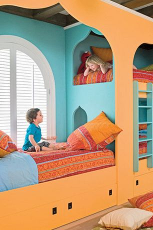 Eclectic Kids Bedroom with Exposed beam, Carpet, Bunk beds, Nectar velvet throw pillow, Arched window