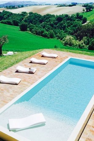 Contemporary Swimming Pool with Custom Pools, Lap pool, exterior tile floors, exterior brick floors, Ledge lounger chaise