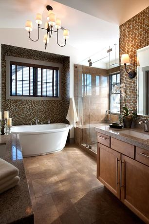 Contemporary Master Bathroom with Shower, Flat panel cabinets, Rain shower, Flush, Wall Tiles, Master bathroom, Wall sconce