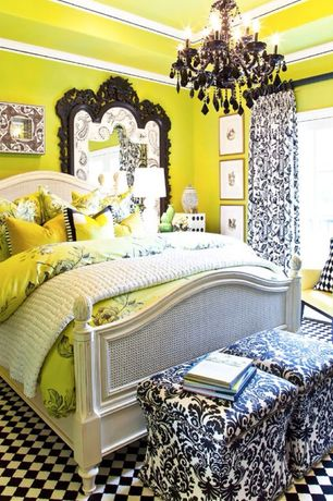Eclectic Master Bedroom with Standard height, Chandelier, Carpet, French doors, Crown molding