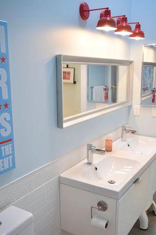 "Contemporary Kids Bathroom with Double sink, Corian counters, Virtu Midori 54"" Double Bathroom Vanity Set, Wall mounted sink"