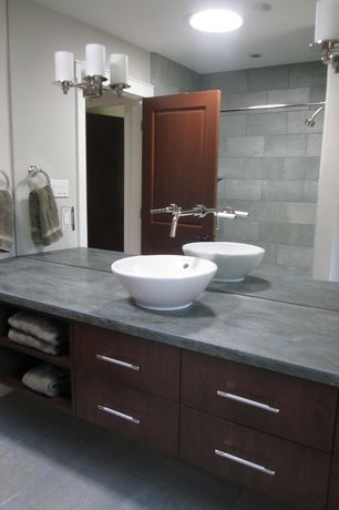 Contemporary Full Bathroom with Slate counters, European Cabinets, Vessel sink, Flush, MS International Lagos Blue Limestone