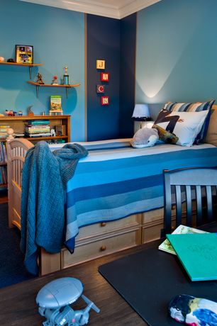 Craftsman Kids Bedroom with Hardwood floors, Wall shelf, Bed with storage, Pottery Barn Kids Belden Bed, Crown molding
