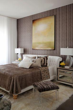 Contemporary Master Bedroom with Concrete floors, Woodbridge home designs mardella mirror cabinet, interior wallpaper