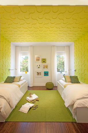 Contemporary Kids Bedroom with Green Cotton Rope Pouf Ottoman, Hardwood floors, Fedora - Chartreuse Flor Tiles