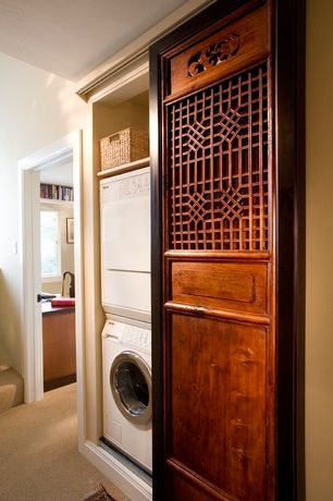 Asian Laundry Room with Standard height, laundry sink, Built-in bookshelf, Carpet, Undermount sink