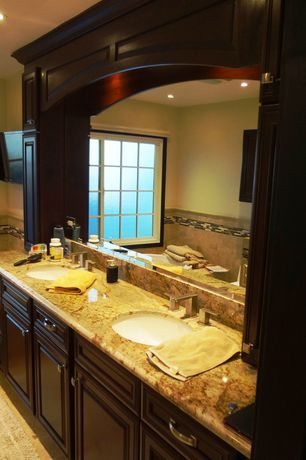 Traditional Master Bathroom with Standard height, Master bathroom, Casement, Complex Granite, full backsplash, can lights