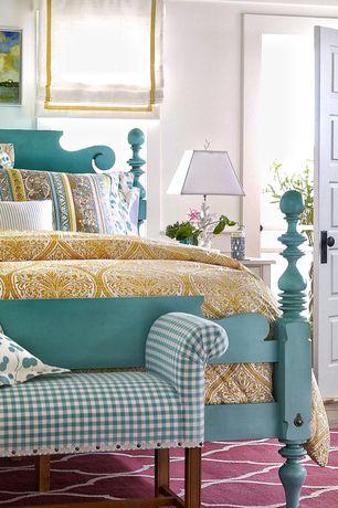 Eclectic Guest Bedroom with Standard height, Hardwood floors, specialty door