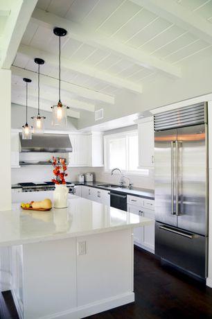 Cottage Kitchen with Subway Tile, Complex marble counters, Multiple Refrigerators, Paint 1, Casement, Multiple Sinks, Flush