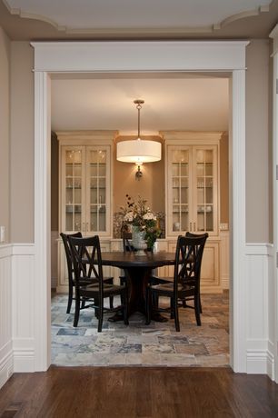Traditional Dining Room with Keaton Side Chair, flush light, Kichler Brushed Nickel Pendant, Wainscotting, Chair rail