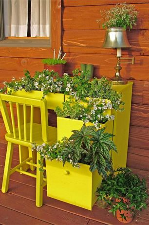 Eclectic Porch with Repurposed student desk planter, International Concepts Unfinished Tall Mission Side Chair (Set of 2)