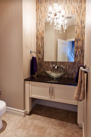 Contemporary Powder Room with Lite Source C71157 Chrome Crystal Five Light Up Lighting Chandelier from the Brinda Collection