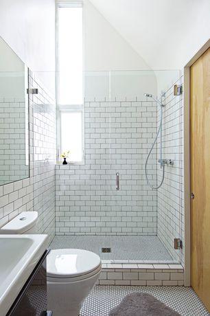 Contemporary 3/4 Bathroom with three quarter bath, Handheld showerhead, penny tile floors, Undermount sink, Wall Tiles, Paint