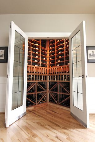 Traditional Wine Cellar with Built-in bookshelf, Hardwood floors, French doors