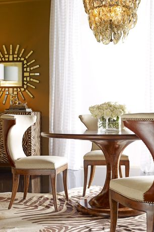 Eclectic Dining Room with Ferguson copeland atlas round dining table, Regina andrew silver glass leaves chandelier, Paint 1