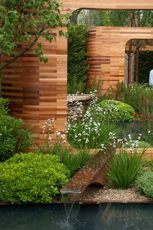 Contemporary Landscape/Yard with exterior stone floors, 1.5 gal. Wee Willie Boxwood Shrub, Raised beds, Pond