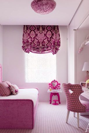 Traditional Kids Bedroom with London shade valance, Globe light, Built-in bookshelf, flush light, Plaid carpet, Carpet