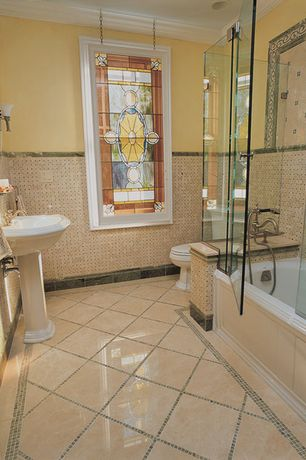 Traditional Full Bathroom with Wall sconce, Ms international crema marfil premium marble, Pedestal sink, Stained glass window