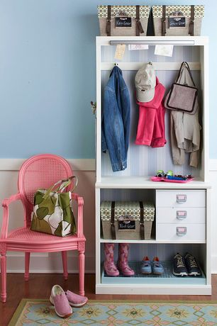 Cottage Entryway with Pink french cane chair, Hardwood floor, Recollections organizer cube 3 drawer, Wainscotting, Paint 1