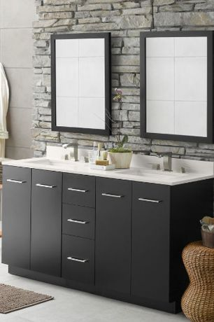 Contemporary Master Bathroom with Double sink, International Concepts - Unfinished Wood Tall Solid Wood End Table, Flush