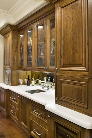 Traditional Bar with Crown molding, Hardwood floors, High ceiling