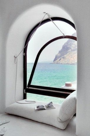 Contemporary Master Bedroom with Reading nook, Libeco Napoli Linen Floor Cushion, Rejuvenation Classic Cotton Sash Cord