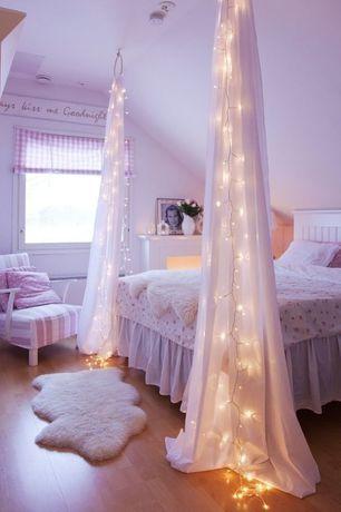 Cottage Kids Bedroom with PB Teen Beadboard Basic Bed White, Sheepskin Throw, Kids bathroom, Hardwood floors