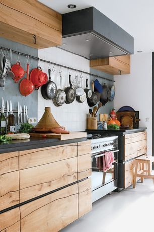 Eclectic Kitchen with Large Ceramic Tile, Home Depot S-Hook for Rubber Straps, Soapstone counters, One-wall