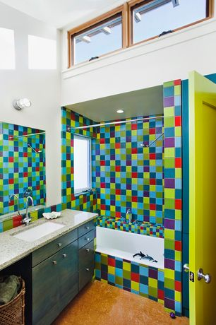 Eclectic Full Bathroom with tiled wall showerbath, Forbo marmoleum asian tiger natural sheet linoleum flooring, Rain shower
