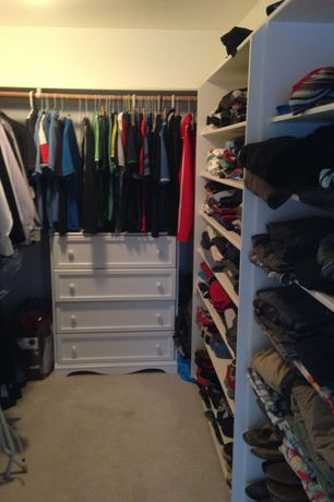 Traditional Closet with Carpet, Built-in bookshelf