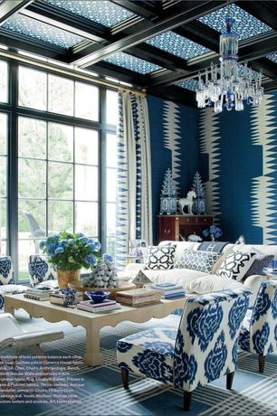 Craftsman Living Room with Gore Dean Home Blue and White Pagoda Tower, Skyline furniture fabric slipper chair, Box ceiling