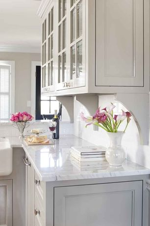 Traditional Kitchen with 5TH AVENUE - GLOSSY, Flush, Farmhouse sink, L-shaped, Ms International  Calacatta Classic Marble