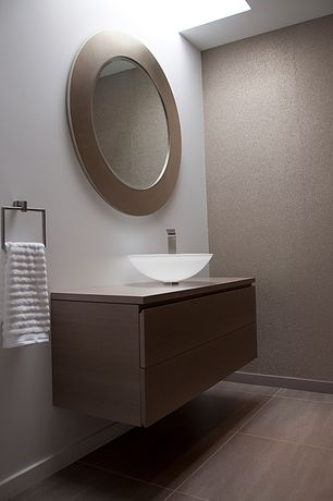Modern Powder Room with Powder room, Skylight, Majestic Mirror Contemporary Beveled Round Mirror, slate tile floors, Flush