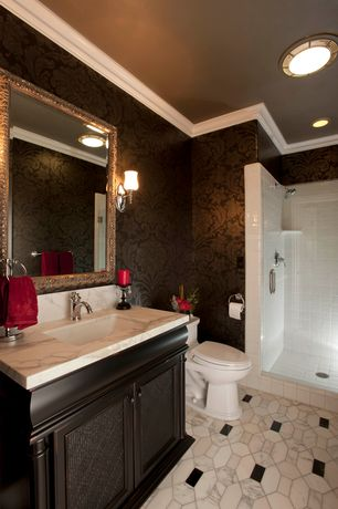 Traditional 3/4 Bathroom with Hitchcock butterfield company antique silver framed wall mirror, Flat panel cabinets