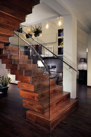 Contemporary Staircase with Glass stair railing, Wood staircase, Dark hardwood floors